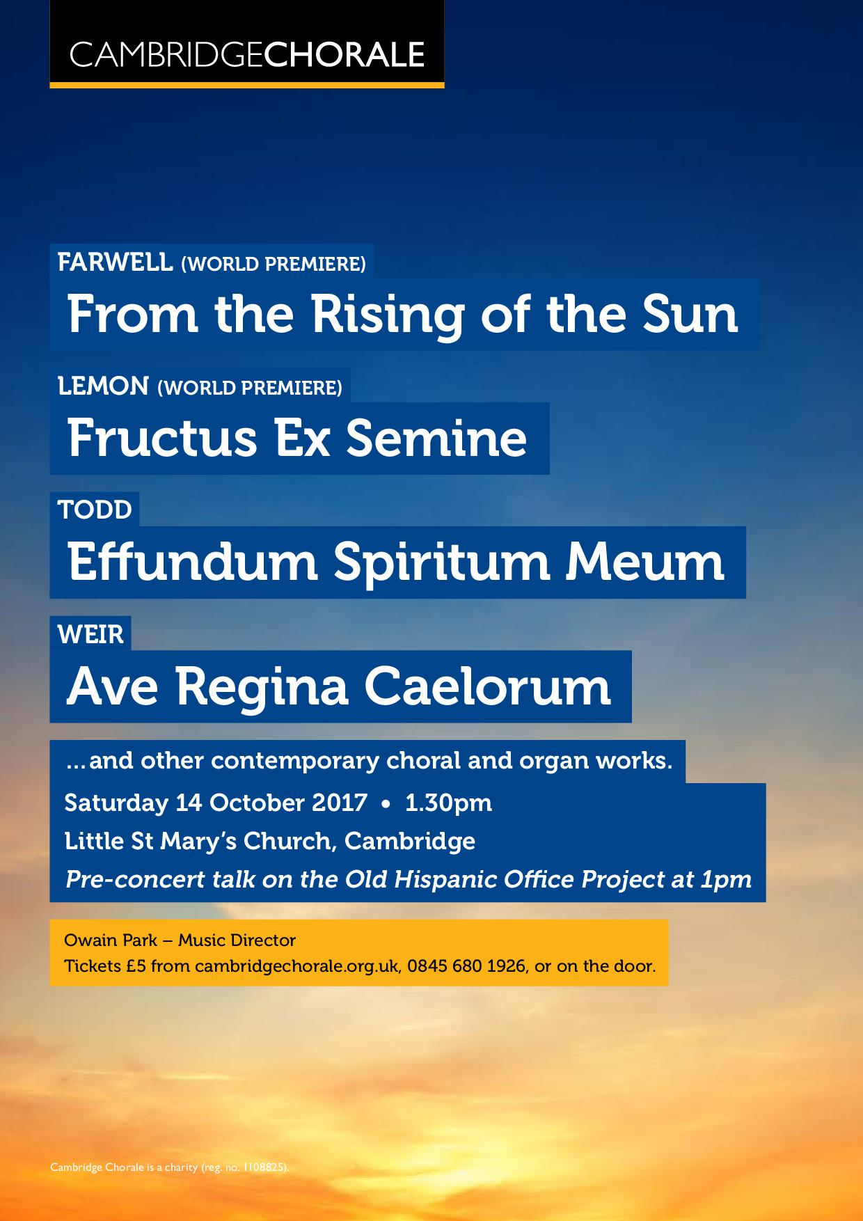 Cambridge Chorale: From the Rising of the Sun